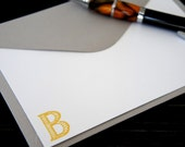Personalized Note Cards Monogram Initials Yellow Ochre Set of 10 - WriteHere