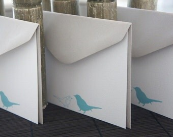 Personalized Flat Note Cards / Birds / Blue - Set of 10