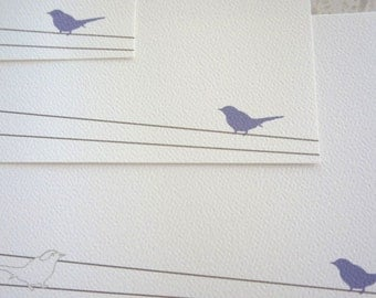 Personalized Flat Note Cards / Birds / Purple - Set of 10