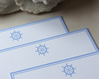Personalized Flat Note Cards/Nautical/Helm/Blue - Set of 10