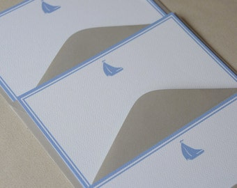 Personalized Flat Note Cards, Nautical, Sail Boat, Blue, Set of 10