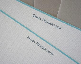 Aqua Border, Note Card, Personalised, Turquoise, Flat Notes, Set of 10