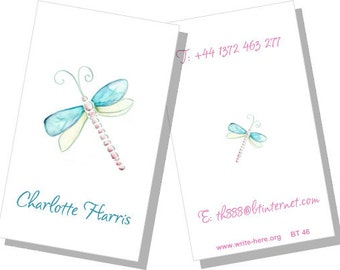 Personalized Luggage Tags, Turquoise,  Green, Aqua, Dragonfly, Set of 2