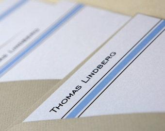 Personalized Note Cards Black Stripe Blue Stripe Set of 10.