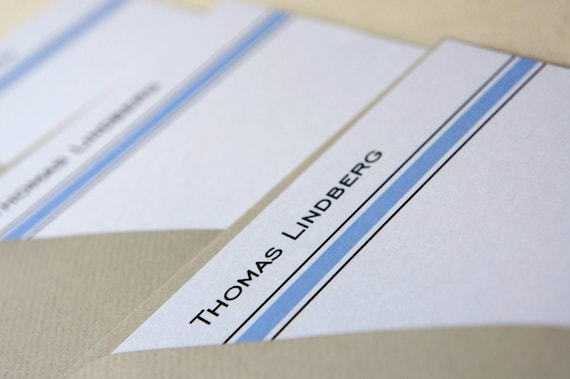 Personalized Note Cards Black Stripe Blue Stripe Set of 10.