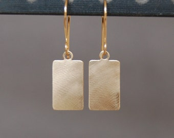 14K Gold Rectangle Earrings