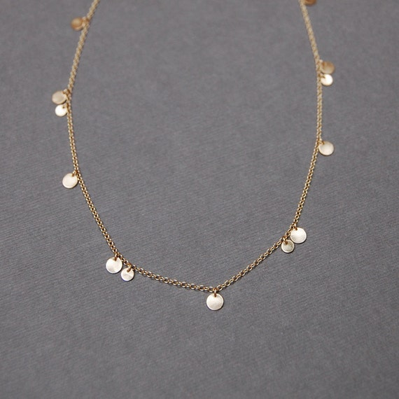 14K Gold Nineteen 3.75mm & 4.75mm Mix Disc Necklace