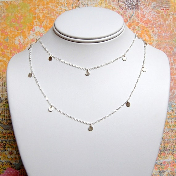 "Silver, 48"" TwentyEight Dainty 4.75mm Disc Necklace"