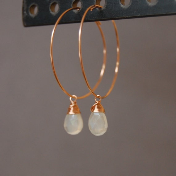 14K  Rose Gold Spring Hoop Earrings with Milky Chalcedony Charms