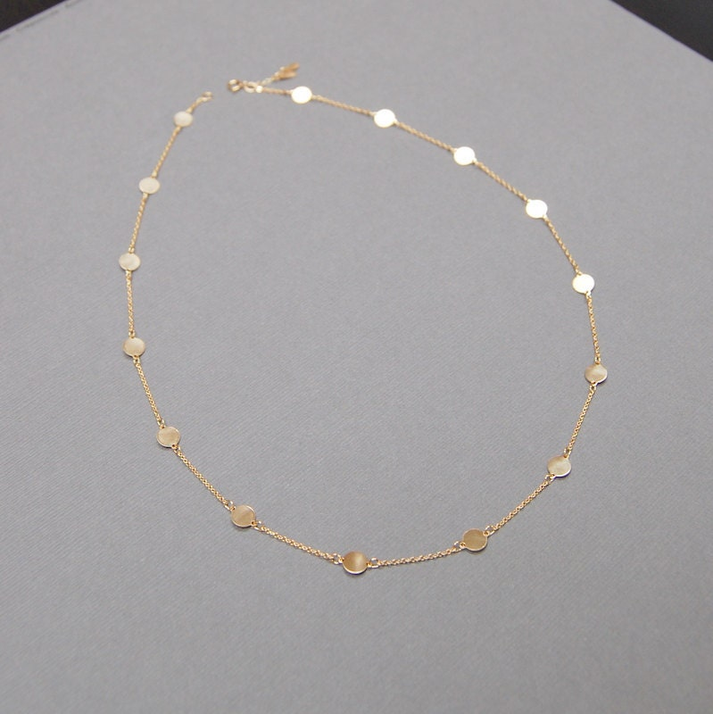 14k gold free disc necklace with fifteen