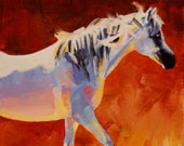 Arabian Horse Art Original Acrylic Painting Red Orange White Horse Blue Sunset colors
