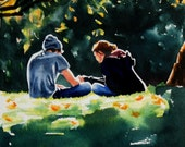RESERVED FOR DIANE Valentine's Day Art Young Love Art Original Figurative Watercolor Painting Teenage Romantic Couple Green