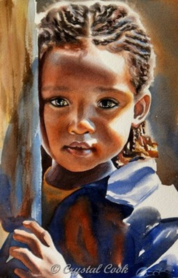 RESERVED FOR DIANE Original Painting Watercolor African Child