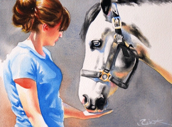 Watercolor Painting Original Girl and Horse fine art 6 x 9 by Crystal Cook blue white grey