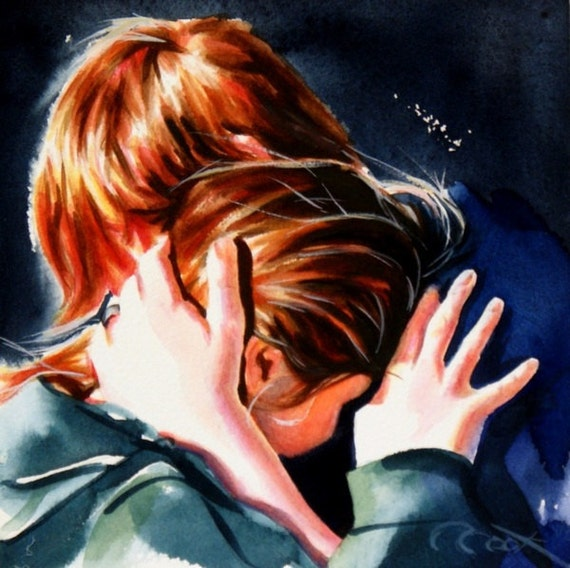 Young Love Art Romantic Couple Original Watercolor Painting