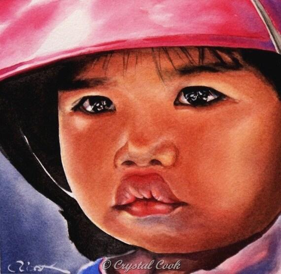 Watercolor Portrait Original Fine art Little Girl Thailand