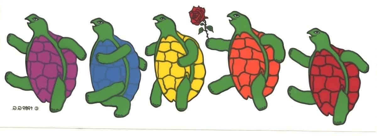 Grateful Dead Dancing Turtle Terrapins Sticker Vintage