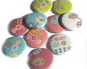 Buttons - Retro Garden (Set of 10)