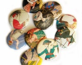 25 Vintage Flapper FLAT BACK Buttons