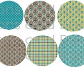 Buttons - Green, Brown, Blue Peacock design (set of 10)