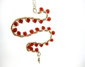 Beaded Pendant Necklace, Red Necklace ,Sterling Silver Necklace