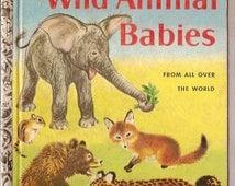 VINTAGE children animal book Wild Animal BABIES Little Golden Book 1958
