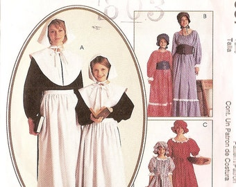 Costume sewing pattern girl size 7 - 8  Reenactment  McCalls 2337 Dress collar apron hat  corselet Prairie Dress long dress, Early American