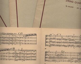 1946 Vintage miniature BEETHOVEN String Quartet MUSIC SCORES paper ephemera sheet music