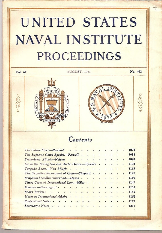 1941 Military HISTORY Navy Institute Proceedings August 1941 vintage magazine PHOTOS Advertisements, articles