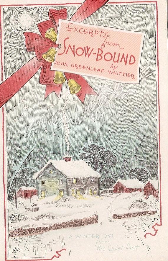 SNOW BOUND VINTAGE booklet poetry John Greenleaf Whittier 5 x 8 booklet Illustrated  Lee Mero Greeting Card 1953