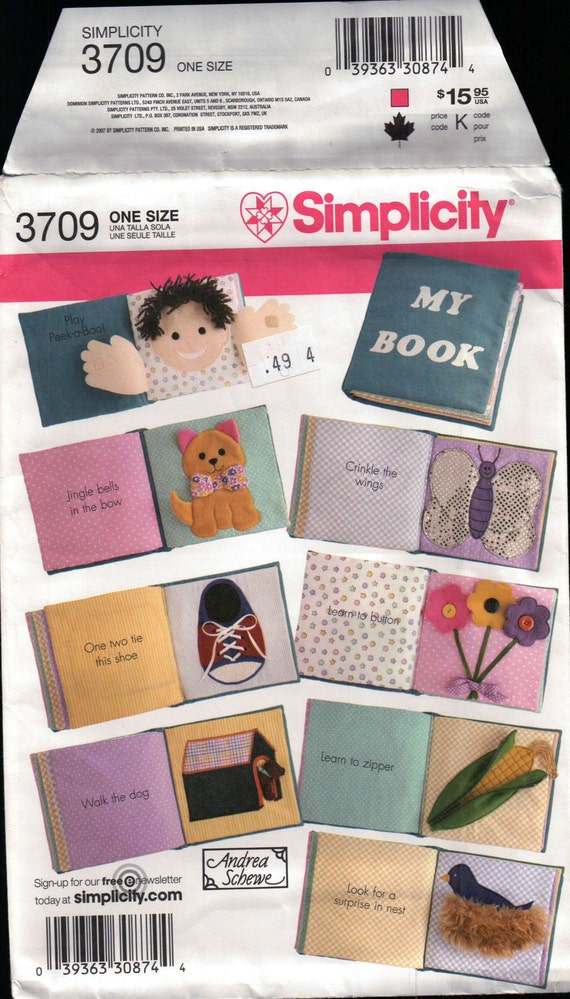 """pattern Build a Cloth Book Sewing Pattern Simplicity 3709 8"""" square"""