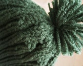 SALE Extra-long Trendy Hunter Green Hat With Pom Pom