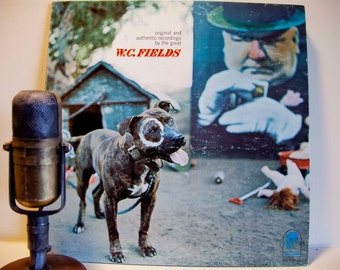 """ON SALE W.C. Fields Vinyl Record """"Original and Authentic Recordings by the Great W.C. Fields"""" (Scarce Orig 1968 Blue Thumb Records w/inner s"""