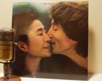 """ON SALE John Lennon Solo Record (The Beatles) """"Milk and Honey"""" (1984 Red Polydor Records) Vintage Gatefold Record Album"""