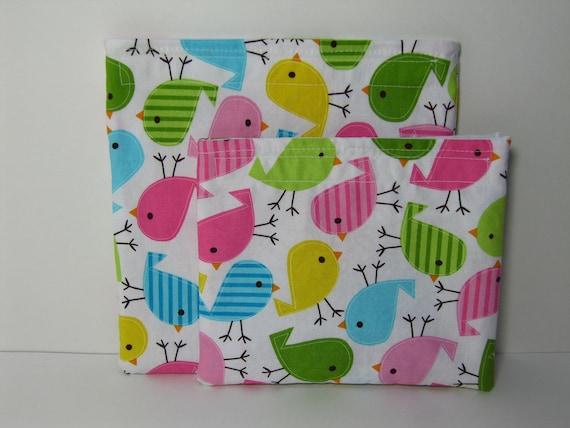 Reusable Snack Bag Set, Kids Snack Bags Urban Zoologie Birds, Eco Friendly