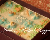 Hand Decorated Holiday Sugar Cubes - Blue Winter Couture Cubes  - 15 candy count - Hostess Gift