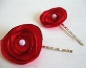 SALE - Reddest Rose bobby pins