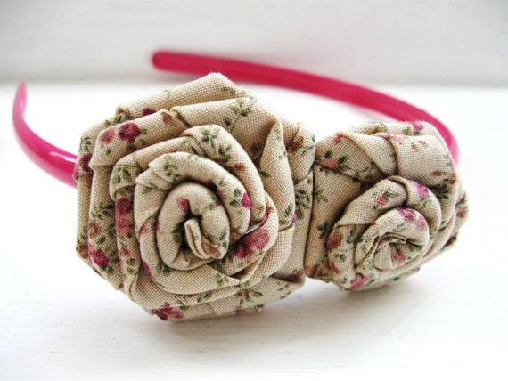 English Rose rosette headband in beige and pink