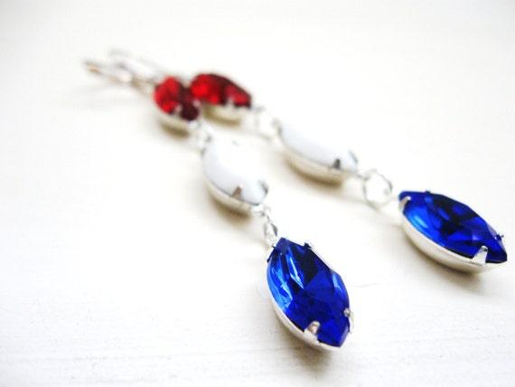 Red White Blue earrings in silver