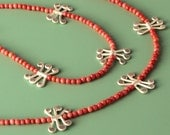 "Necklace ""Coral Silver"""