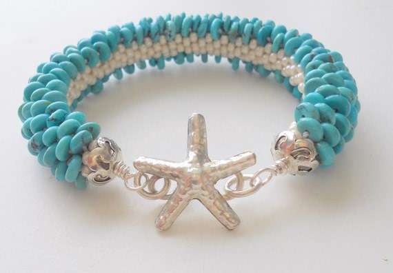 Turquoise Bead Crochet Bracelet  with Sterling Silver Star Fish  -   Made in USA