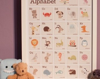 cute animal alphabet print