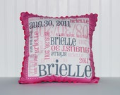 Custom Name and Birth Stats Pillow - Color Combo PINK & BLACK