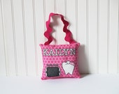 Tooth Fairy Plush Pillow - Perfect Pink - Custom printed fabric pillow with pocket backing and rick rack handle