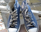 These Shoes have stories  super vintage converse All Star high top blue shoes men's size 8 womens 10