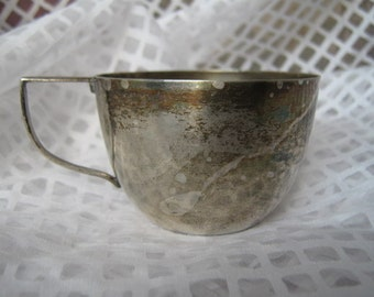 Antique Silver Creamer silver cup unusual handle marked on the botton shabby chis RARE