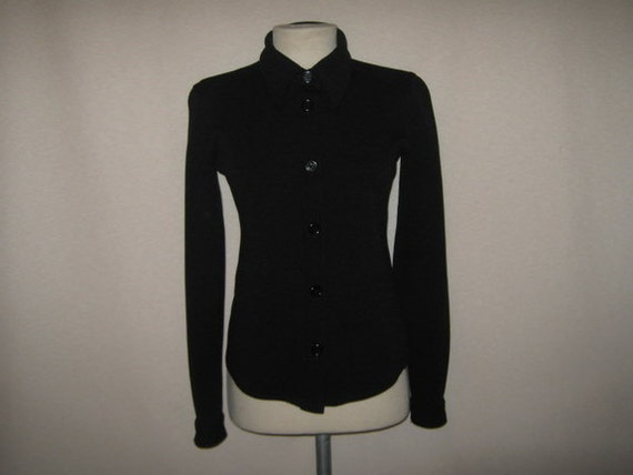 Moving Sale Prada 1970s/80s black button down shirt fitted RARE RARE Small