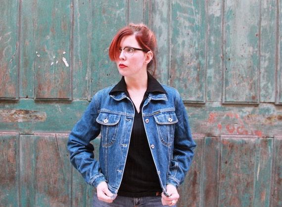 Indie Rocker 1980s European Denim Jacket Womens teens Small Boho Chic