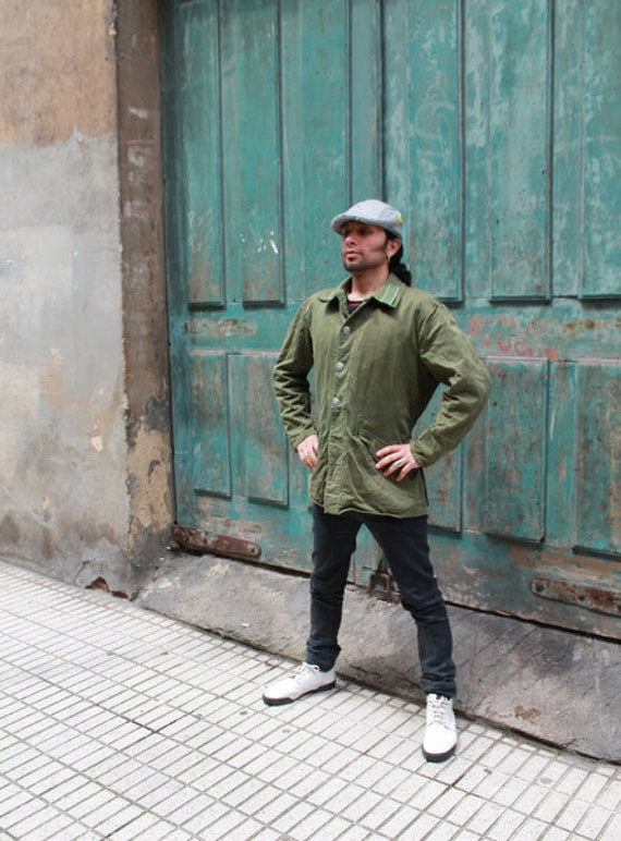 RESERVED Moving Sale Vintage Spanish Military green jacket distressed Must See