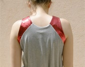 Gathered at the waist Dress, grey with metallic red